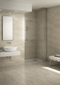 Travertino<br />Floor - Art. 8014<br />Mosaic - Art. 2073 <br />Wall - Art. 7032